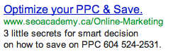 Phone Number in AdWords Ad Example #2