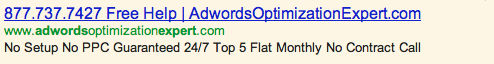 Phone Number in AdWords Ad Example #1