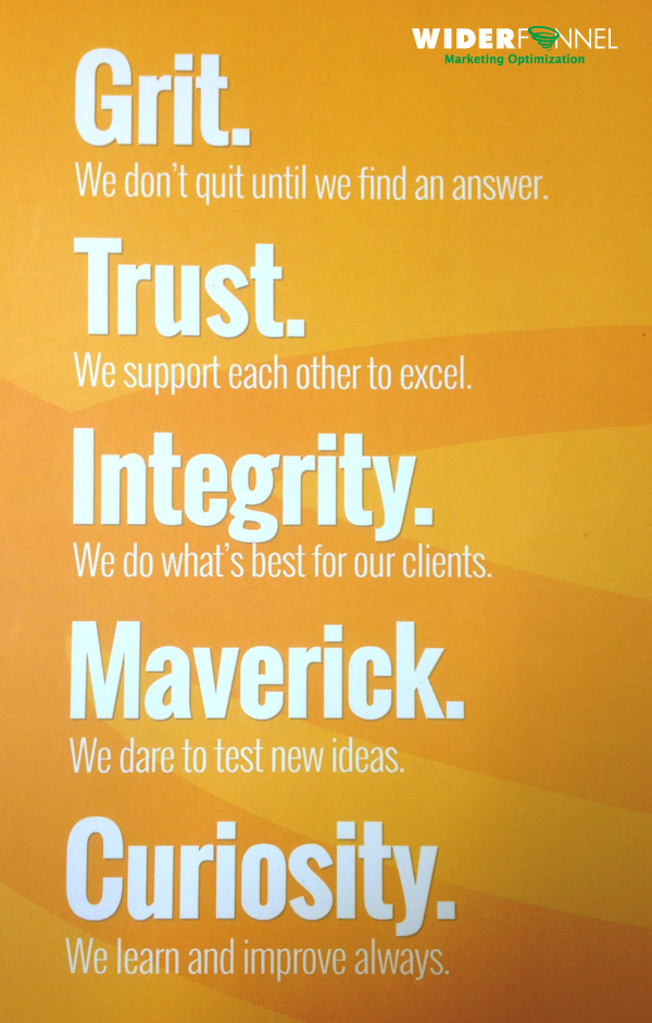 WiderFunnel values grit trust integrity maverick curiosity