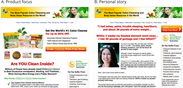 Colon cleanse landing page A/B test