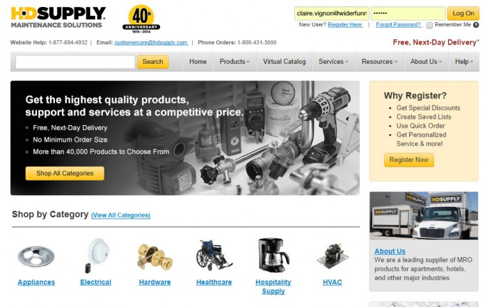 HD Supply homepage, var A