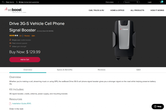 weBoost product page test, var b