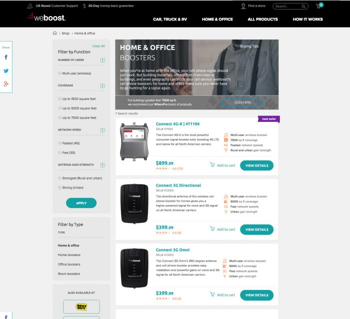 weBoost category page test, horizontal layout, var A