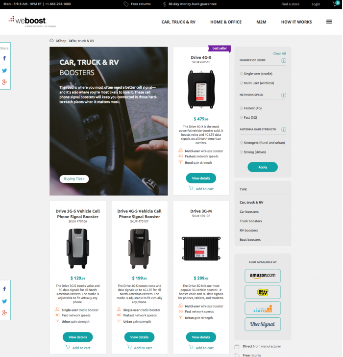 weBoost category page test, control