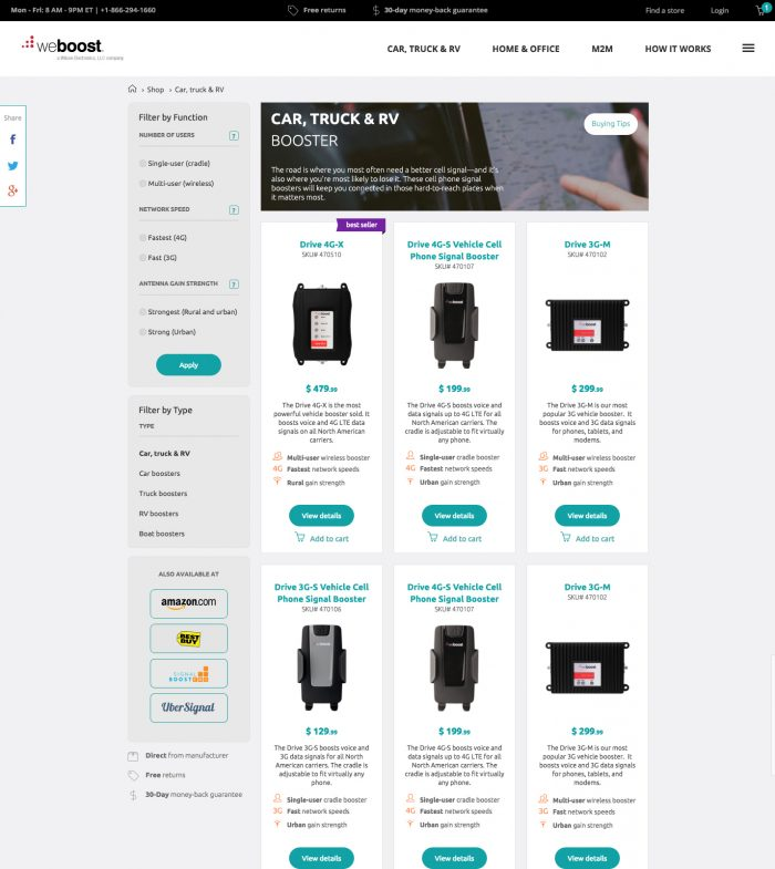 weBoost category page test, var A