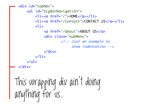 No extra  tags! Source: 12 Principles for Keeping your Code Clean