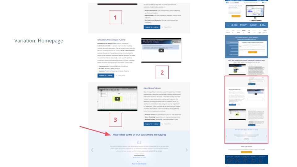 UX case study - A/B test variation