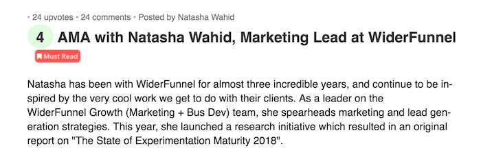 WiderFunnel GrowthHackers AMA with Natasha Wahid