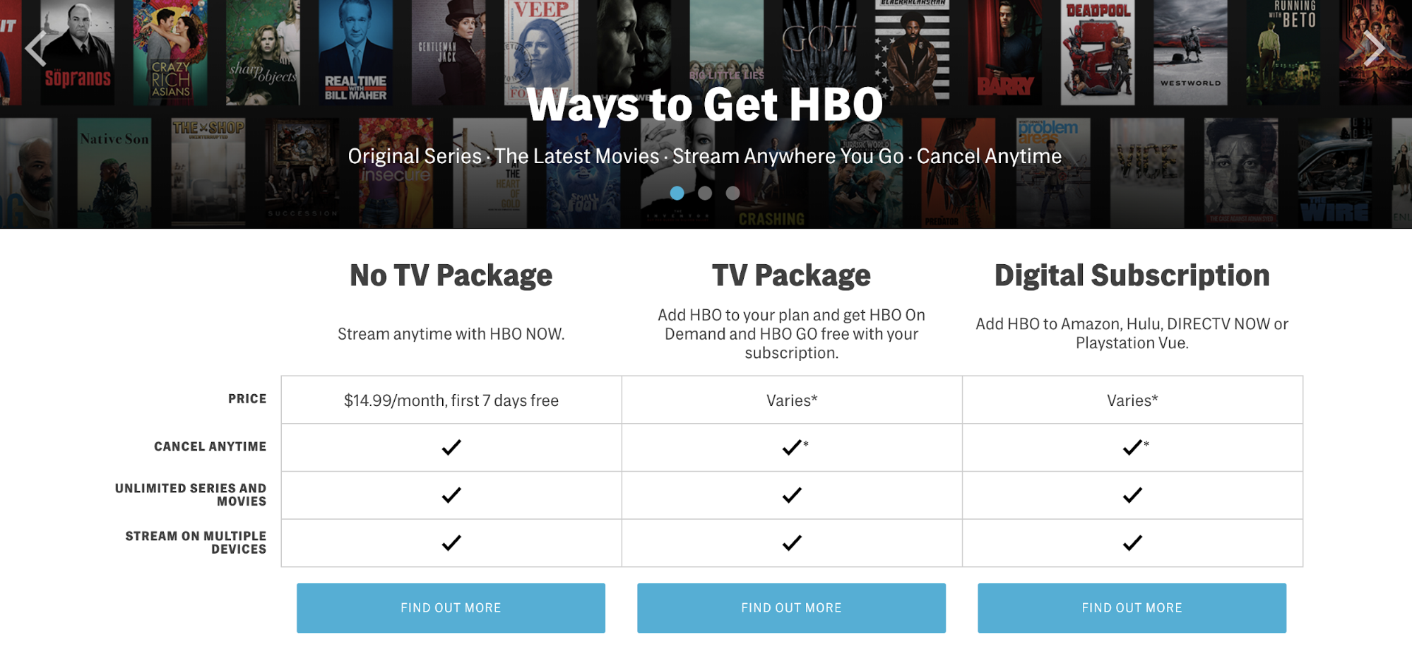HBO Example Plans Page