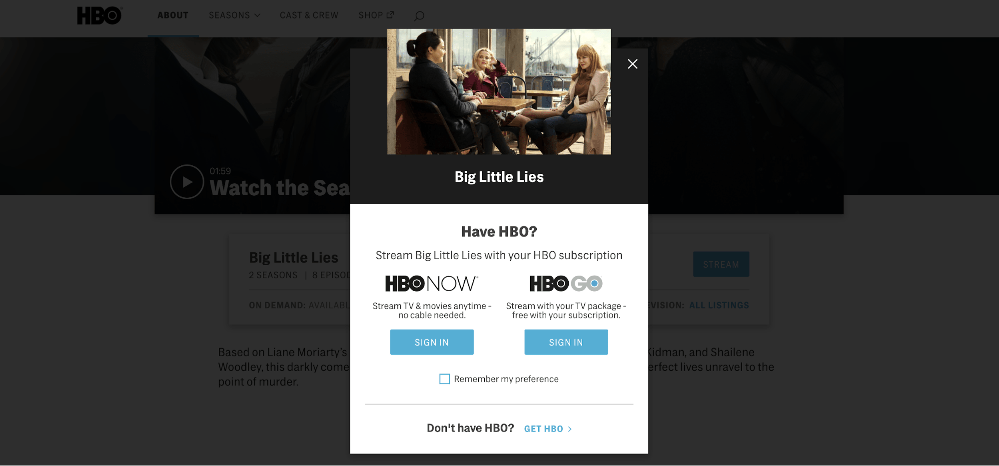 HBO Example Subscription Portal
