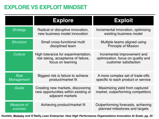 business innovation explore vs. exploit
